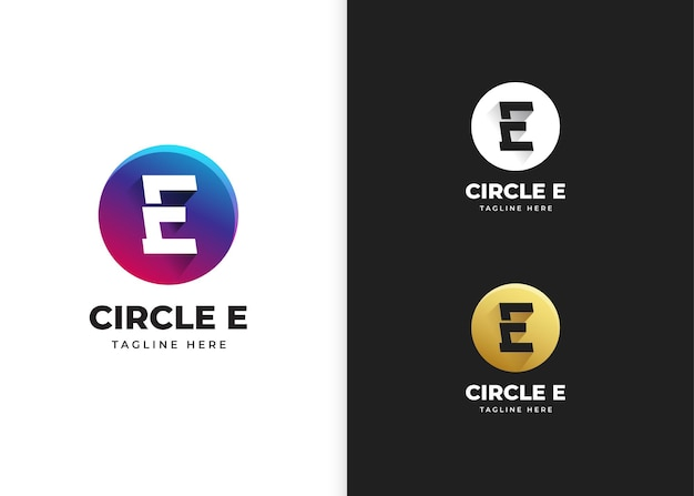 Буква e логотип векторные иллюстрации с дизайном в форме круга