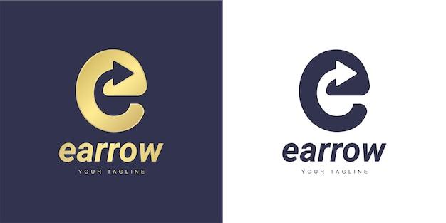 미니멀리스트 화살표와 방향 개념이있는 문자 e 로고