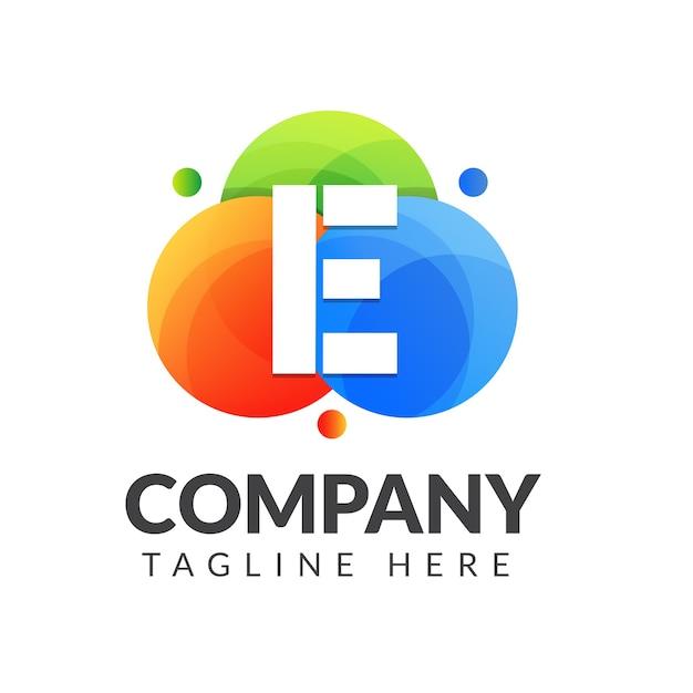 カラフルな背景の文字eロゴ、クリエイティブ産業、ウェブ、ビジネス、会社のための文字の組み合わせのロゴデザイン。