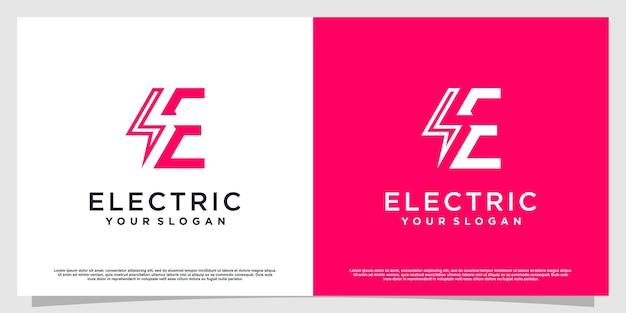 Letter e logo with electric concept premium vector