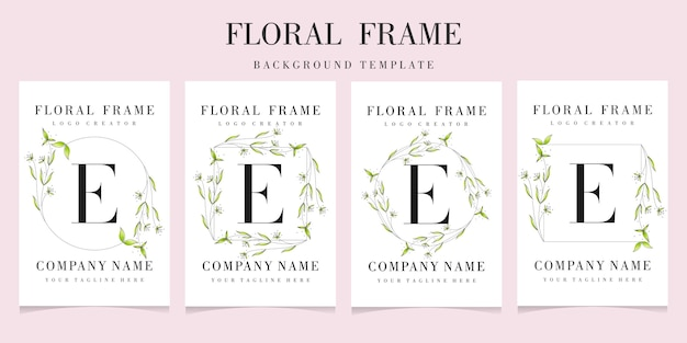Letter e logo with floral frame set