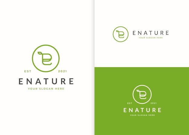 Letter e logo with leaf icon design