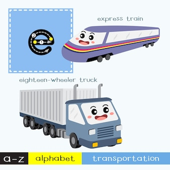 Letter e lowercase tracing transportations vocabulary