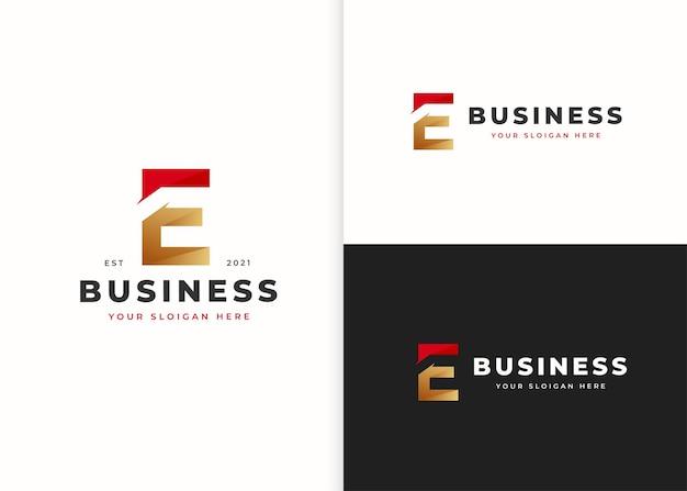 文字eの豪華なロゴデザインテンプレート。ベクトルイラスト