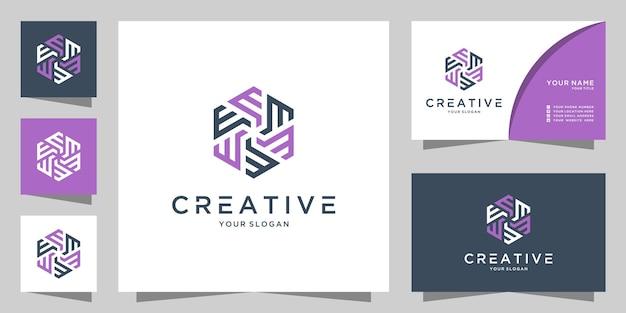 Letter e m and w creative logo icon design template