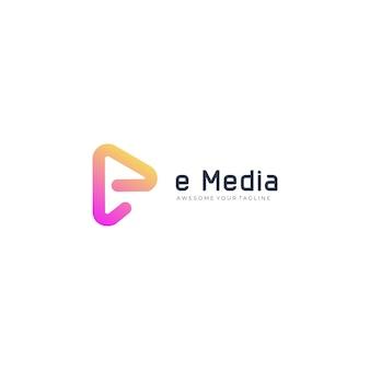 Буква e media play логотип градиент современный