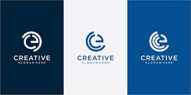 편지 e 현대적인 로고 디자인 영감. 크리에이 티브 편지 e 로고 디자인 서식 파일 세트