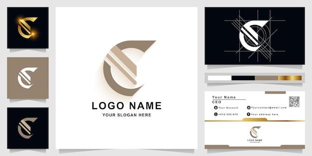 Буква e или c вензель шаблон логотипа с дизайном визитной карточки