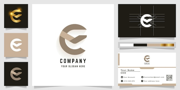 Буква e или e вензель логотип с дизайном визитной карточки