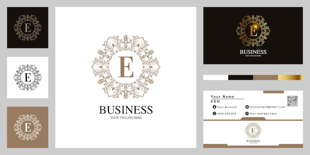Буква e орнамент цветочная рамка шаблон логотипа с визитной карточкой.