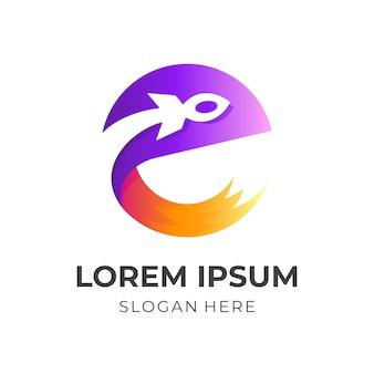Буква е логотип ракеты, буква е и ракета, комбинированный логотип с 3d красочным стилем