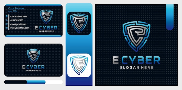 Letter e safety cyber secure shield logo  symbol  template