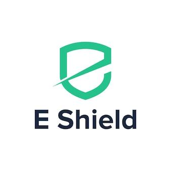 Буква е щит простой гладкий креативный геометрический современный дизайн логотипа