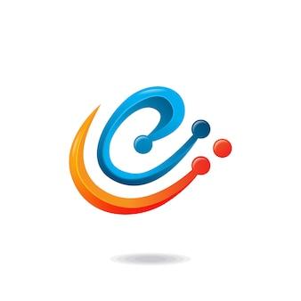 Letter e technology logo