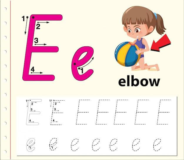 Letter e tracing alphabet worksheets