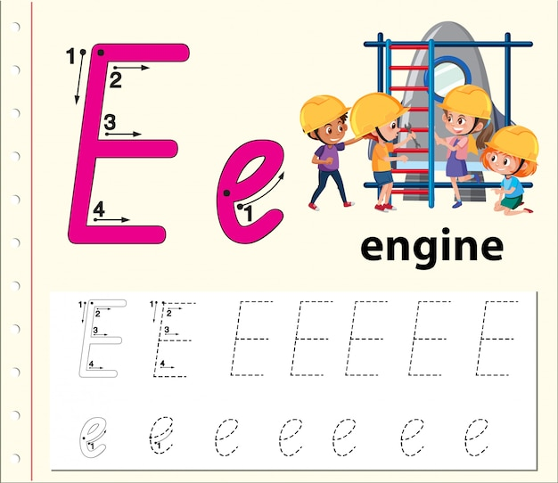 Letter e tracing alphabet worksheets
