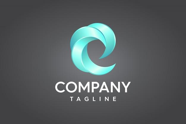 Letter e trendy 3d logo