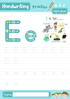 Eの大文字と小文字のトレース練習ワークシート