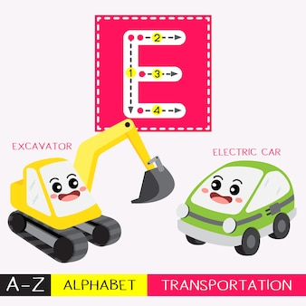 Letter e uppercase tracing transportations vocabulary