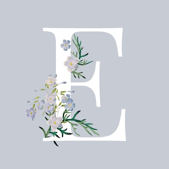 Letter e with blossoms