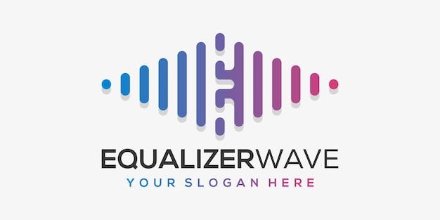 Буква е с импульсом. элемент аккорда. шаблон логотипа электронная музыка, эквалайзер, магазин, dj music, ночной клуб, дискотека.