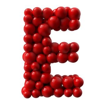 Буква е с красными цветными блестящими шарами. реалистичная иллюстрация.