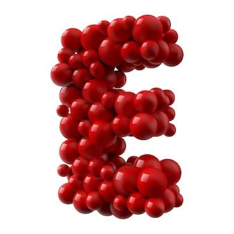 Буква e с красным цветом блестящие шары, вид сбоку. реалистичная иллюстрация.