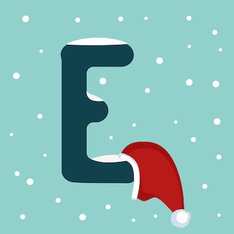 Letter e with snow and red santa claus hat. festive font for christmas and new year