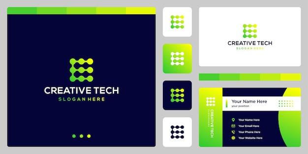 기술 스타일과 그라디언트 색상이 있는 문자 e. 명함.