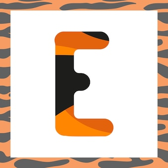 Letter e with tiger pattern festive font and frame from orange with black stripes alphabet symbol fo...