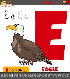 Letter e worksheet with cartoon eagle bird
