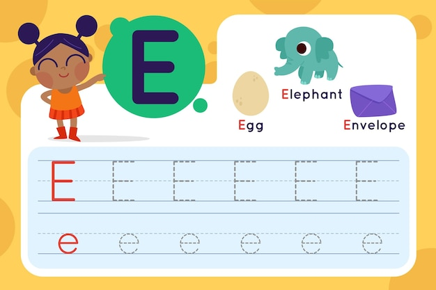 Letter e worksheet with egg and envelope
