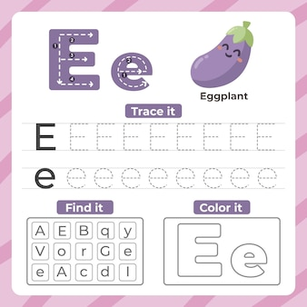 Letter e worksheet with eggplant