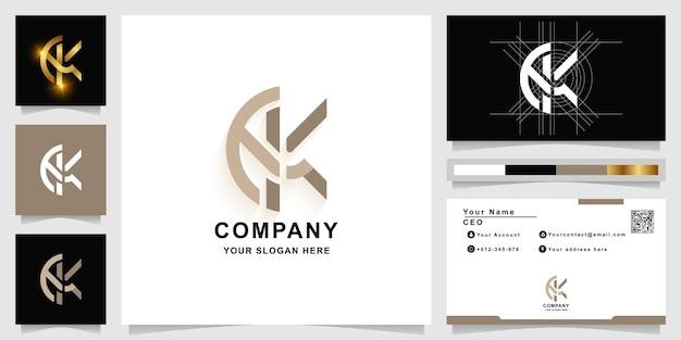 명함 디자인이 있는 편지 ek 또는 k 모노그램 로고 템플릿