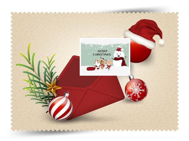 편지 요소 산타 모자 크리스마스 인사말 카드 메리 크리스마스와 새해 복 많이 받으세요