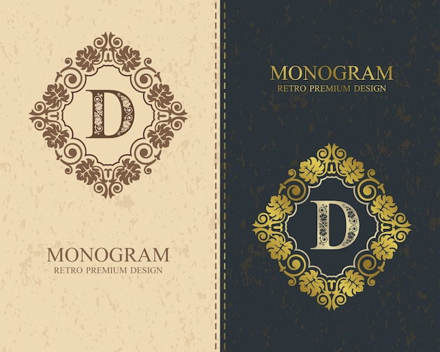 文字エンブレムdテンプレート、モノグラムデザイン要素、書道の優雅なテンプレート。
