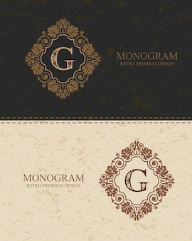 Letter emblem g template, monogram design elements, calligraphic graceful template.