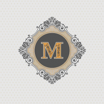 편지 엠블럼 m 템플릿, 모노그램 디자인 요소, 붓글씨 우아한 템플릿,