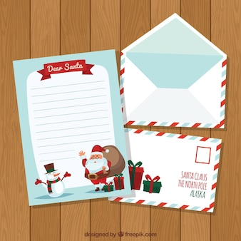 Letter and envelopes with santa claus and a snowman