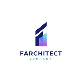 Letter f building modern gradient logo