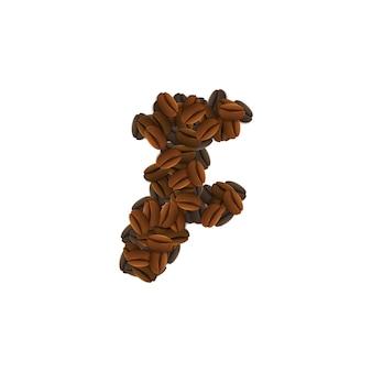 Lettera f di chicchi di caffè