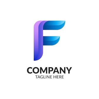 Letter f colorful gradient logo design