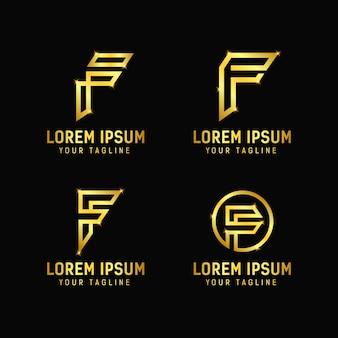 文字fデザインのロゴのテンプレート