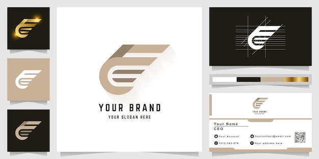 Letter f or e monogram logo with business card design