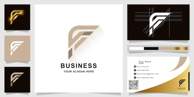 Letter f or ff monogram logo template with business card design