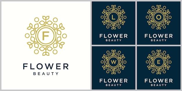 文字f花の美しさのロゴシンプルでエレガントな花柄のデザインのロゴ