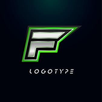 ビデオゲームのロゴとスーパーヒーローのモノグラムスポーツゲームのエンブレムの文字f大胆な未来的な文字