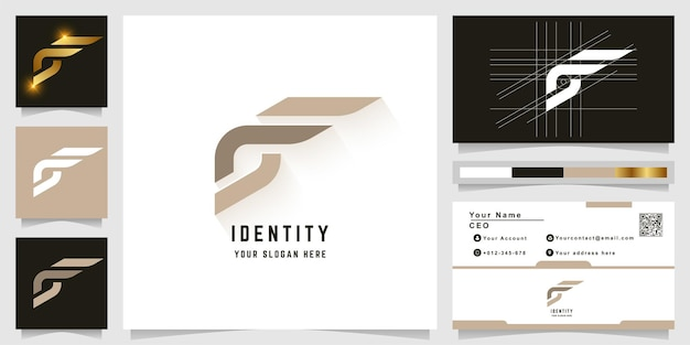 Letter f or gf monogram logo with business card design