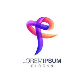 Letter f gradient color logo design