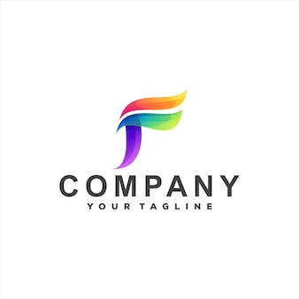 Буква f градиентный дизайн логотипа